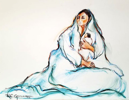 Mermeha with Baby - 1976 Oil Pastel/Charcoal