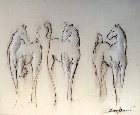 Three Horses 16 x 20 Bas Relief